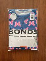 Bonds Baby Girl Navy Blue Pink Butterfly Short Sleeve Wondersuit Size 0 BNIP