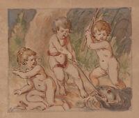 O.CORNILL(*1824), Kinder beim Fischfang, Fischende Putti, Liebliche Genre, Aqu