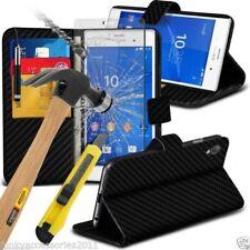 Étuis, housses et coques etuis portefeuilles Sony Xperia XA en fibre de carbone pour téléphone mobile et assistant personnel (PDA)