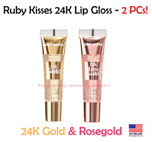 Ruby Kisses 24k Gold & Rosegold Lip Gloss - 2 PCs, 24k gold flakes on your Lips