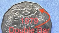 🇦🇺1979 AUSTRALIAN 50 CENT DOUBLE BAR ERROR COIN/VARIETY VERY SCARCE📮FREE POST