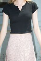 brandy melville black crop cotton v notch Ashlyn top NWT sz XS/S