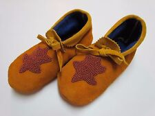 AUTHENTIC NATIVE AMERICAN MOCCASINS/SLIPPERS - BROWN TURTLE DESIGN - 8 1/2 IN