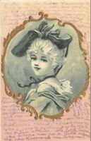 CPA fantaisie - Jeune fille dans un médaillon