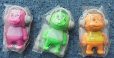 3 x cute Monkey Erasers with earphones on  Pink Orange and Green
