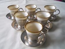 6 Lennox Demi Tass Cups with Sterling Holders & Saucers