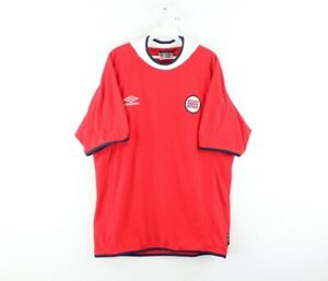 Vintage Umbro Mens Large 2000 Norway World Cup Soccer Jersey Terry Cloth Red