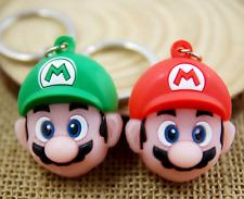 2pcs Super Mario Luigi & Mario head PVC Rubber Toy Pendant Key chain Keyring