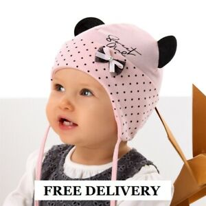 Cotton baby girls hat AUTUMN size 0-12 months GIRL Tie up KIDS Minnie Mouse NEW