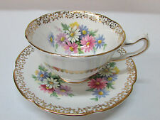England Collingwoods Tea cup TeaCup Saucer Bone China Daisies Signed Numbered