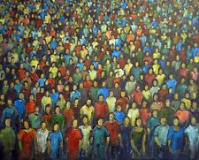Colorful Pop Art Original Painting Anonymity Faces in the Crowd 30x24 - BenWill