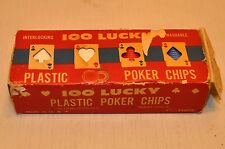 Vintage 100 Lucky Interlocking Plastic Poker Chips, Made in USA America