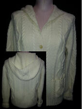 RALPH LAUREN Cardigan Hoodie Button Front Cable Knit Sweater Sz P-Small Ivory Wh