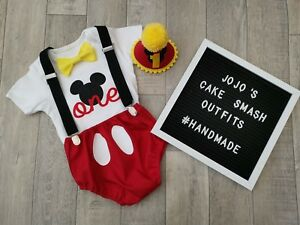 Baby Boys 1st Birthday Cake Smash Outfit. Black Red mickey mouse photography