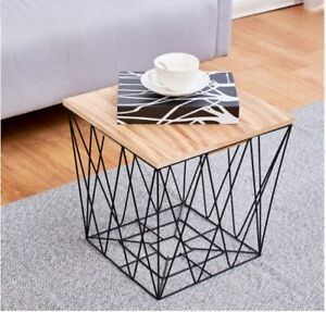 Retro Black Metal Wire Square Wood Top Storage Side Table Basket Home Furniture