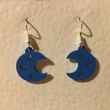 COOL BLUE MOON AND STARS WOOD DROP earrings SILVER PLATE hook LOVE astrology