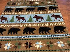 Shavel Moose And Black Bear Fleece Blanket Warm Thick Gorgeous Clean 92 X 86