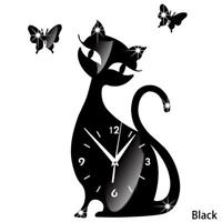 Sitting Cat Wall Decal Mirror Clock Butterfly Silent Removable Acrylic Stick DIY