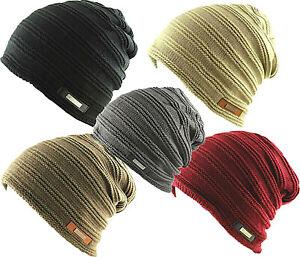 Stripe Rib Cable Knit Fleece Winter Faux Fur Inner Lining Slouch Beanie Hat Cap