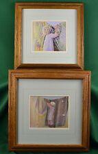 """Set of 2 Nancy Noël Signed Framed Offset Lithographs Amish """"Amanda"""" """"Quilts"""""""