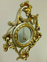 Large Ornate Mirror Silver Leaf Gold Verdi Frame, Italy 28""