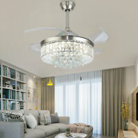 "42"" Modern Invisible Ceiling Fan Light Crystal LED 3-Color Chandelier w/Remote"