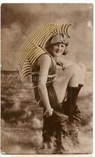 Parasol/Wool Swimsuit Fashion Woman Tinted Real Photo Photobelle WI NY Postcard
