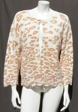 CHICO'S Cheetah Lace Hem Charlee Cardigan Sweater Top size 3 14 16 EUC
