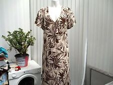 """victoria taylor"" ladies cream and brown patterned patterned dress sz 20"