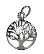 ONE STERLING SILVER 925 TREE OF LIFE CHARM / PENDANT WITH JUMP RING, 13 MM