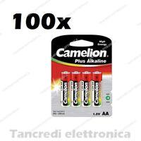 100pz BATTERIA PILA AA STILO CONFEZIONE 4 PEZZI CAMELION BLISTER LR6 1,5V PILE