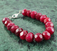 Round Shape 335.00 Cts Earth Mined Faceted Red Ruby Beads Bracelet (RS)