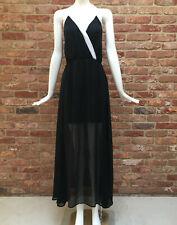 Next Halterneck Black & White Chiffon Summer Beach Holiday Maxi Dress Size 10