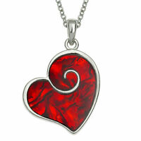 """Red Heart Necklace Paua Abalone Shell Pendant Silver Fashion Jewellery 18"""" Gift"""