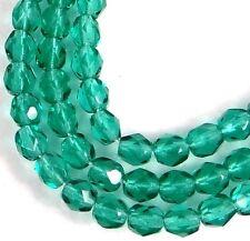 50 Firepolish Czech Glass Faceted Round Beads - Emerald 4mm