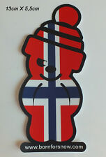 Aufkleber Sticker Norwegen Norway Flag Flagge snowboard Ski Born for Snow (S036)