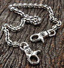 FLAME CLASP SOLID 925 STERLING SILVER WALLET CHAIN MENS NEW BIKER CUSTOM GOTHIC
