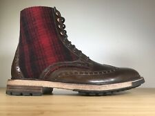 Woolrich Millwright Leather Wingtip Salt Marsh/Buffalo Check Boots Mens Size10.5