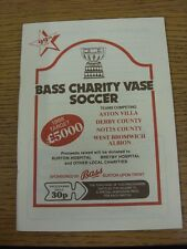 1988/1989 Bass Charity Vase Soccer: Official Programme/Tournament Brochure, Feat