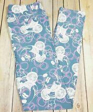 NEW LuLaRoe OS One Size Leggings Disney Minnie Mouse Blue White Sketch Bubbles