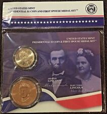 2010 ABRAHAM LINCOLN Presidential $1 Coin MARY TODD  First Lady Spouse Medal Set
