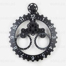 Mechanical Moving Gear Wall Clock Calendar 22 Inches Black