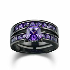 Sunbu Purple Amethyst Ring Sets Size 7 Womens Black Gold Plated Engagement