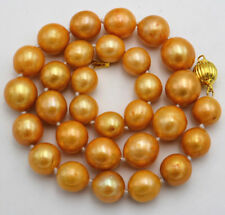 Round Gold Pearl Necklace 18Inch New Gorgeous Huge 13-15Mm South Sea