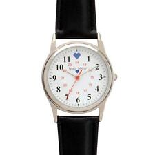 Nurse Mates Black Band Chrome Basic Watch With Military Time!