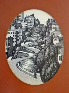 Original Martin Tang Etching San Francisco Lombard Street Signed