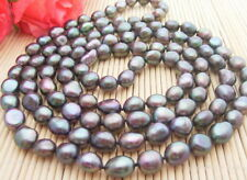 "Natural! 46"" 12MM Black Baroque Pearl Necklace"
