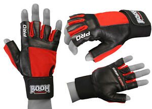 BOOM Weight Lifting Gloves Gym Fitness Workout Training Wrist Strap Leather