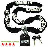 MAMMOTH MOTORCYCLE MOTORBIKE SCOOTER SECURITY CHAIN 1.8M WITH 11MM PAD LOCK