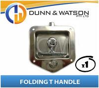 Recessed Stainless Folding T Lock / Handle (Trailer Caravan, Toolbox) Drop T x1